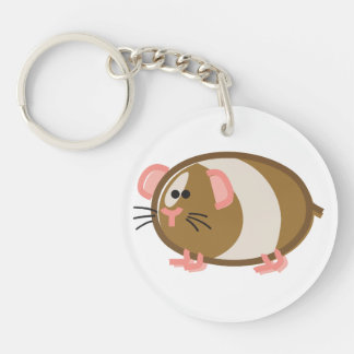 Funny Guinea Pig on White Keychain
