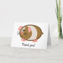 Funny Guinea Pig on White Thank You Card