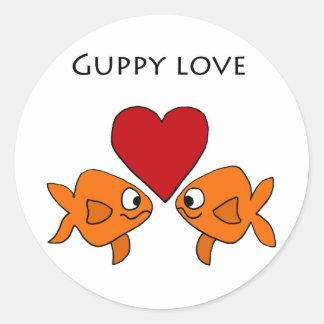 Funny Guppy Love Design Round Stickers