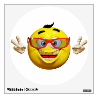 Funny guy 3d emoticon with peace sign Poster Wall Decal