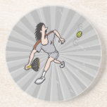 funny guy playing tennis drink coasters