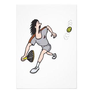 funny guy playing tennis custom invitation