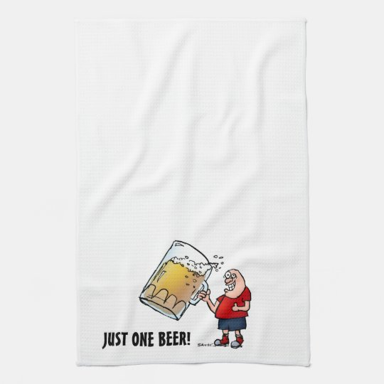 Funny Guy With Just One BIG Beer Hand Towel