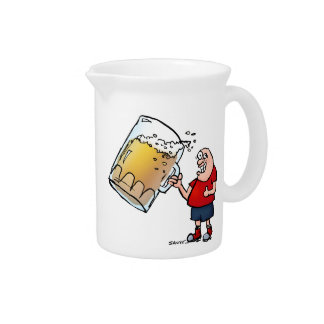 Funny Guy With Just One BIG Beer Drink Pitcher