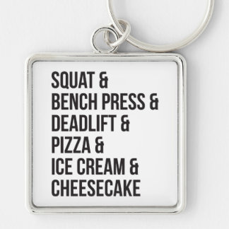 Funny Gym Humor - Pizza, Ice Cream, Cheesecake Keychain