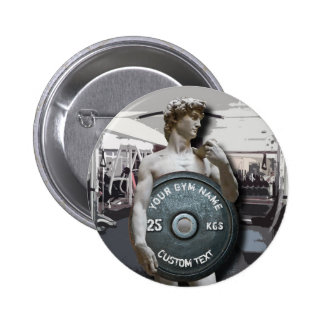 Funny Gym Owner Fitness David Holding Weight Pinback Button