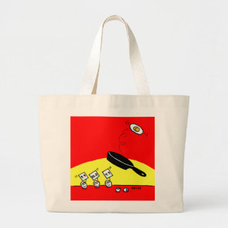 Funny Gymnast Egg in Black Frying Pan Cartoon Large Tote Bag