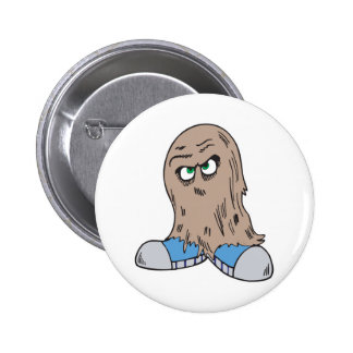 funny hair monster with shoes 2 inch round button