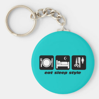 Funny hair stylist basic round button keychain
