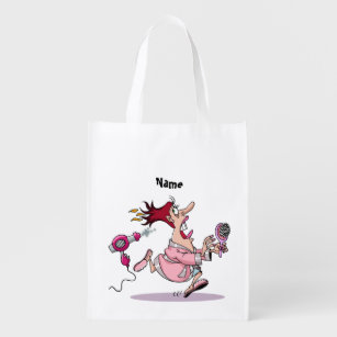 Funny Hairdresser Hairstylist Cartoon Personalized Reusable Grocery Bag