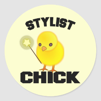 Funny Hairstylist Chick Classic Round Sticker
