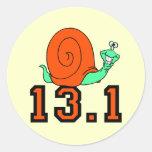 Funny half marathon round sticker
