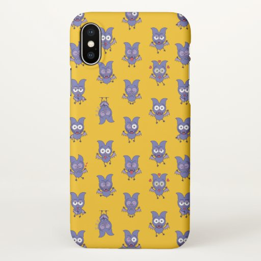 Funny Halloween bat showing a series of moods iPhone X Case