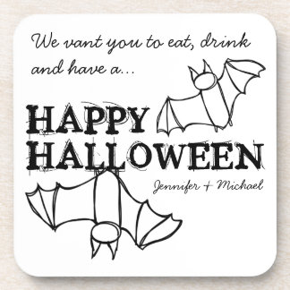 Funny Halloween Bats Personalized Coasters