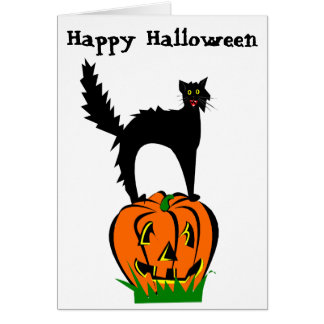 Funny Halloween Black Cat and Pumpkin Card