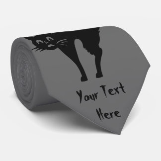 funny halloween black cat with arched back fun tie