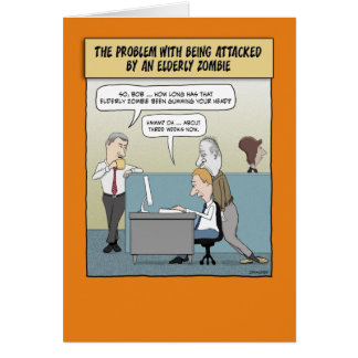 Funny Halloween card: Elderly Zombie Card