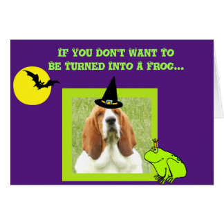 Funny Halloween Card w/Basset Witch & Cauldron