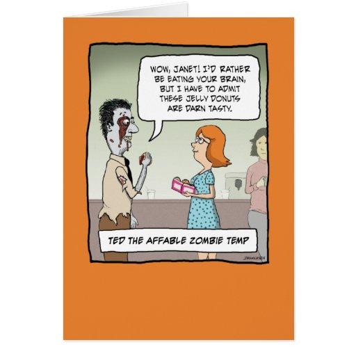 Funny Halloween card: Zombie Temp
