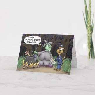 Funny Halloween Cards: Missing Persons card