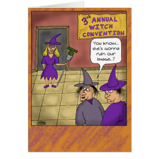 Funny Halloween Cards: Witch Convention Greeting Card