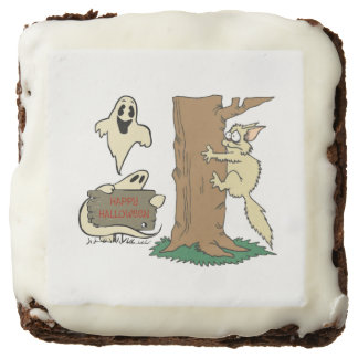 Funny Halloween Cat and Ghost Brownies