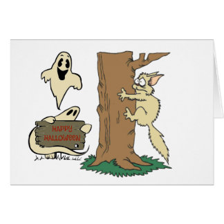 Funny Halloween Cat and Ghost Note Card