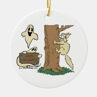 Funny Halloween Cat and Ghost Ornament