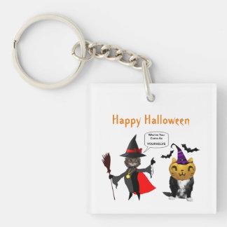 Funny Halloween Cat and Kitten Keychain