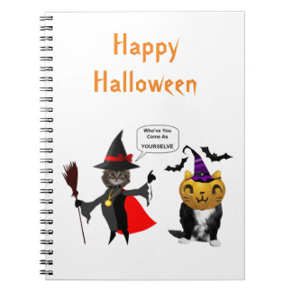 Funny Halloween Cat and Kitten Note Books