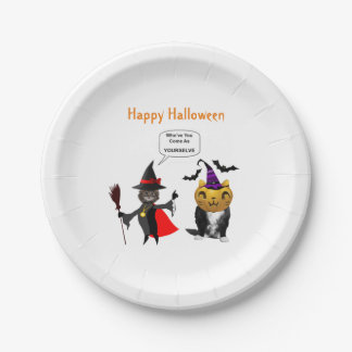 Funny Halloween Cat and Kitten Paper Plates