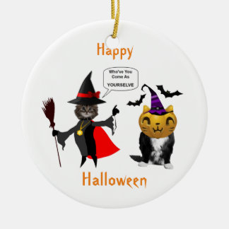 Funny Halloween Cat and Kitten Round Ornament