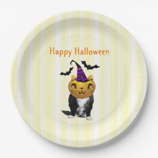 Funny Halloween Cat Paper Plates