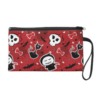 Funny Halloween Characters Pattern Wristlet Clutches