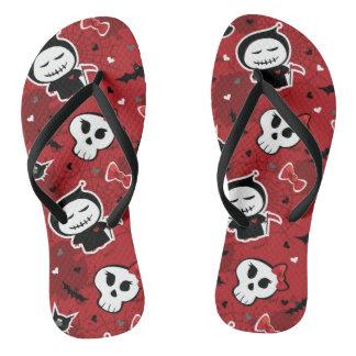 Funny Halloween Characters Pattern Flip Flops