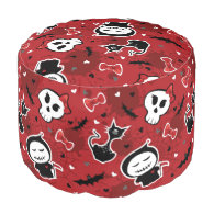 Funny Halloween Characters Pattern Round Pouf