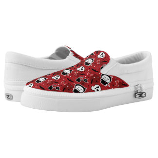 Funny Halloween Characters Pattern Slip-On Sneakers