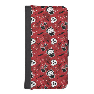 Funny Halloween Characters Pattern Wallet Phone Case For iPhone SE/5/5s
