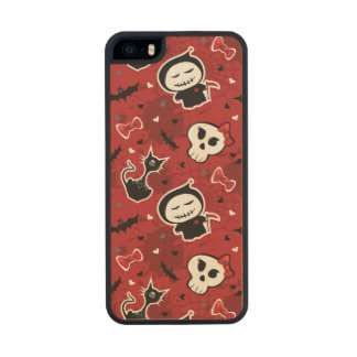 Funny Halloween Characters Pattern Wood Phone Case For iPhone SE/5/5s