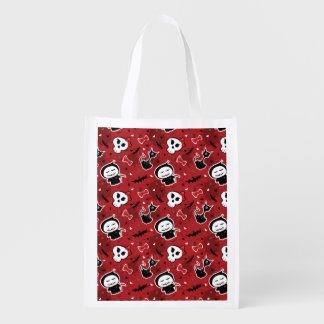 Funny Halloween Characters Pattern Grocery Bags