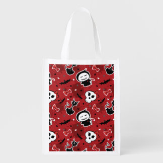 Funny Halloween Characters Pattern Grocery Bag
