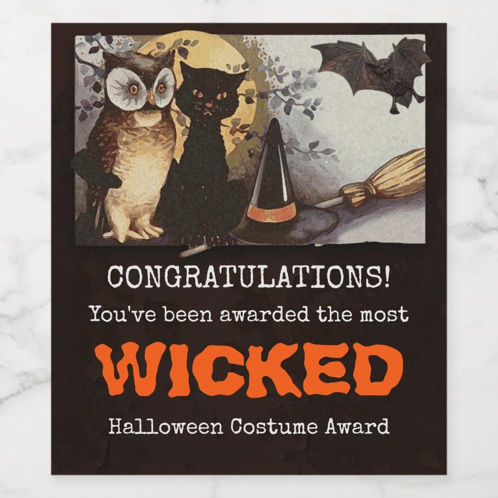 Funny Halloween Costume Award Wine Label