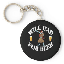 Funny Halloween Dancing Zombie Will Dab For Beer. Keychain