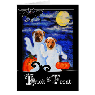 Funny Halloween Dogs in Ghost Costumes Card