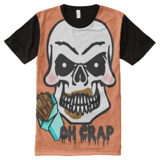 Funny Halloween embarrassed skeleton candy bar All-Over Print T-shirt