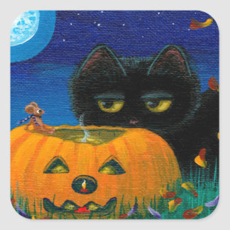 Funny Halloween Fall Cat Mouse Art Creationarts Square Sticker