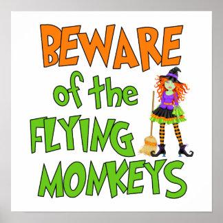 Funny Halloween Flying Monkeys Poster