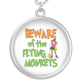 Funny Halloween Flying Monkeys Round Pendant Necklace
