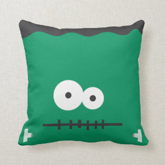 Funny Halloween Frankenstein Face Throw Pillow