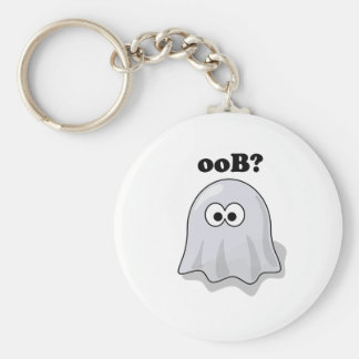 Funny Halloween Ghost Says Boo Backwards Basic Round Button Keychain
